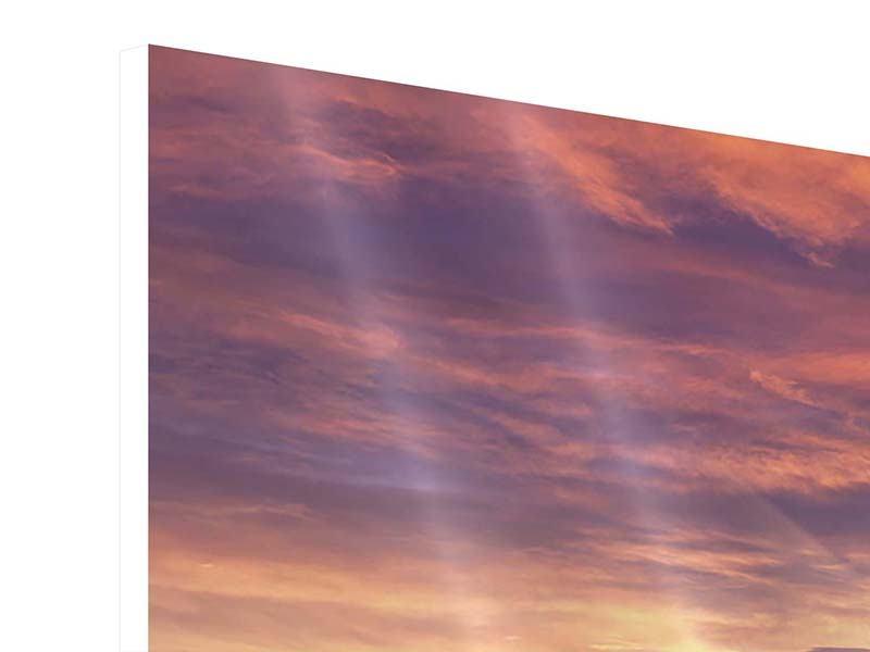 Panorama Hartschaumbild 3-teilig Sonnenaufgang Winterlandschaft