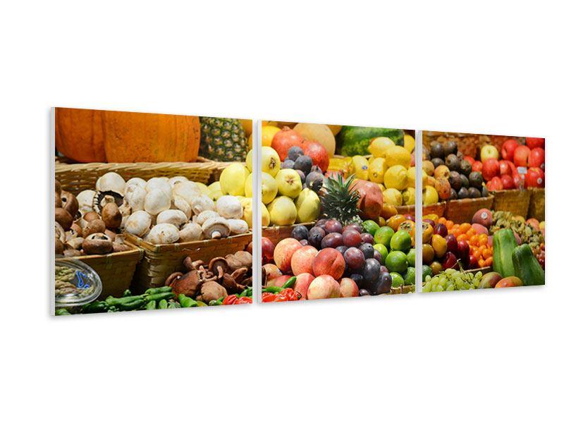 Panorama Hartschaumbild 3-teilig Obstmarkt