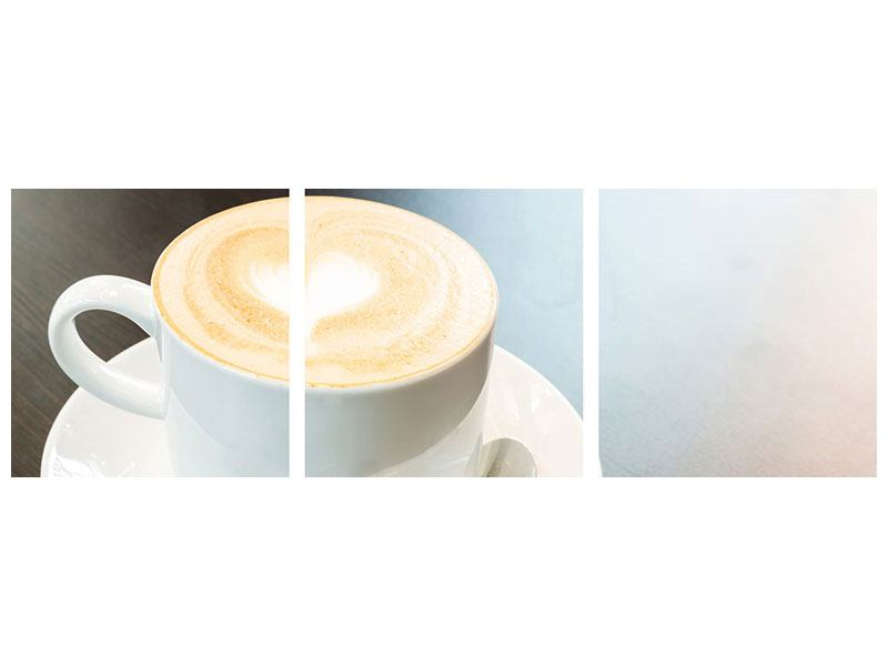 Panorama Hartschaumbild 3-teilig Lieblingskaffee