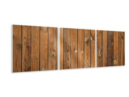 Panorama Hartschaumbild 3-teilig Bretterwand
