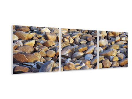 Panorama Hartschaumbild 3-teilig Strandsteine