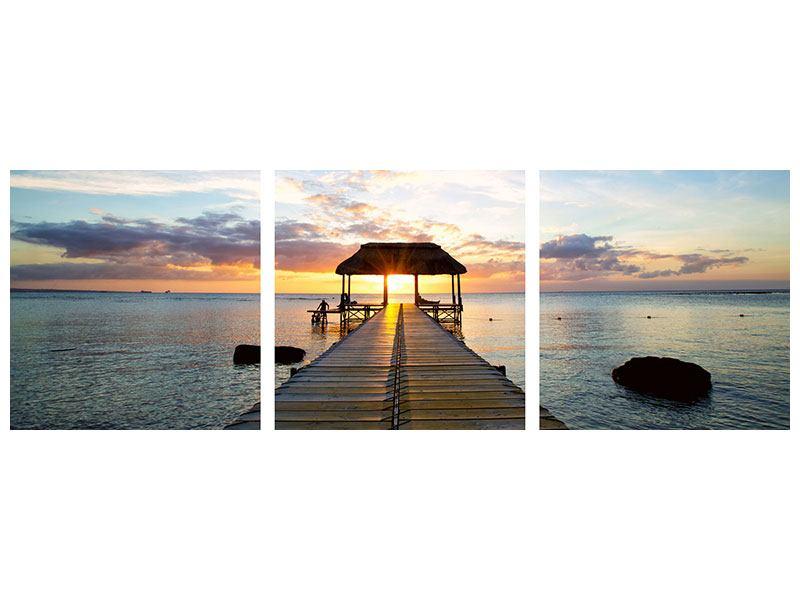 Panorama Hartschaumbild 3-teilig Romantik auf Mauritius