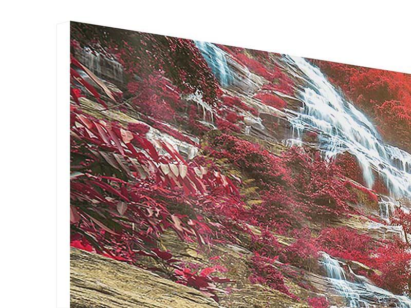 Panorama Hartschaumbild 3-teilig Exotischer Wasserfall
