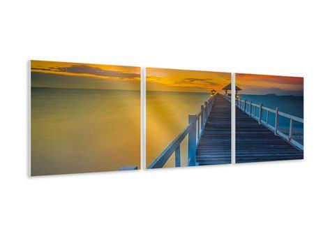 Panorama Hartschaumbild 3-teilig Eine Holzbrücke im fernen Osten