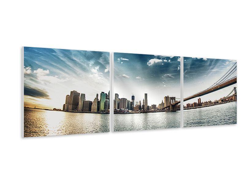 Panorama Hartschaumbild 3-teilig Brooklyn Bridge From The Other Side