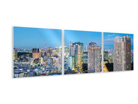 Panorama Hartschaumbild 3-teilig Skyline Tokio im Lichtermeer