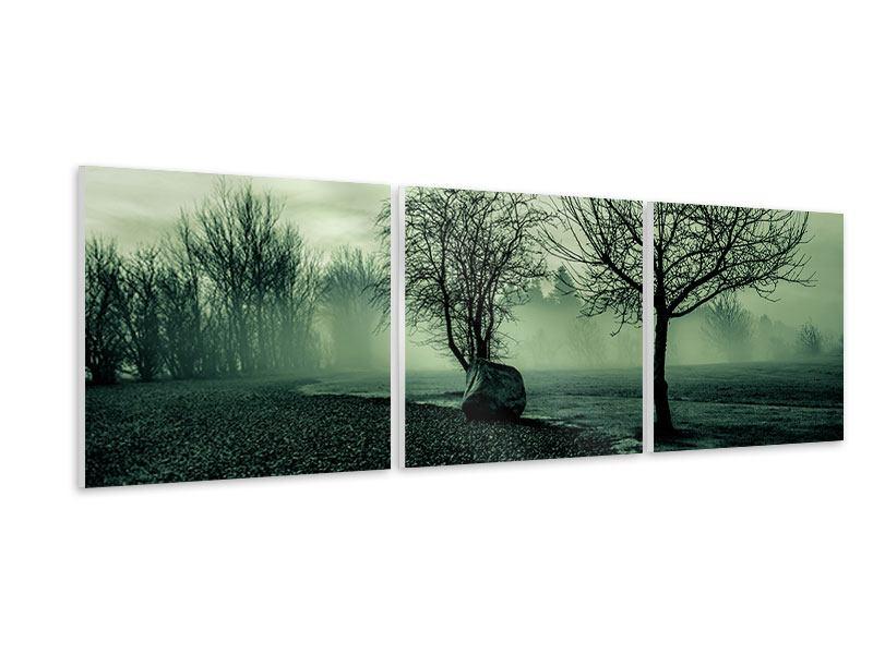 Panorama Hartschaumbild 3-teilig Der Auwald im Nebel
