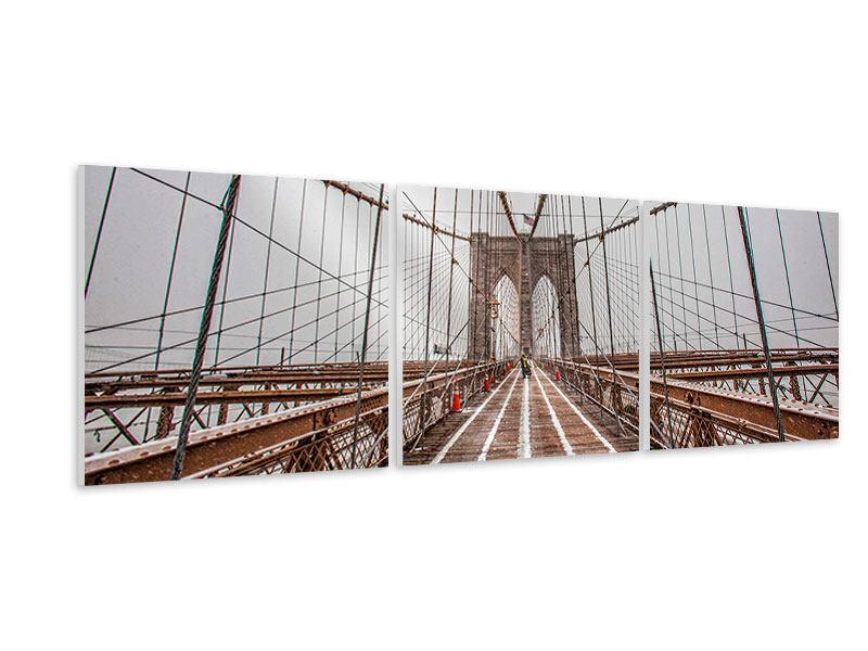 Panorama Hartschaumbild 3-teilig Auf der Brooklyn Bridge