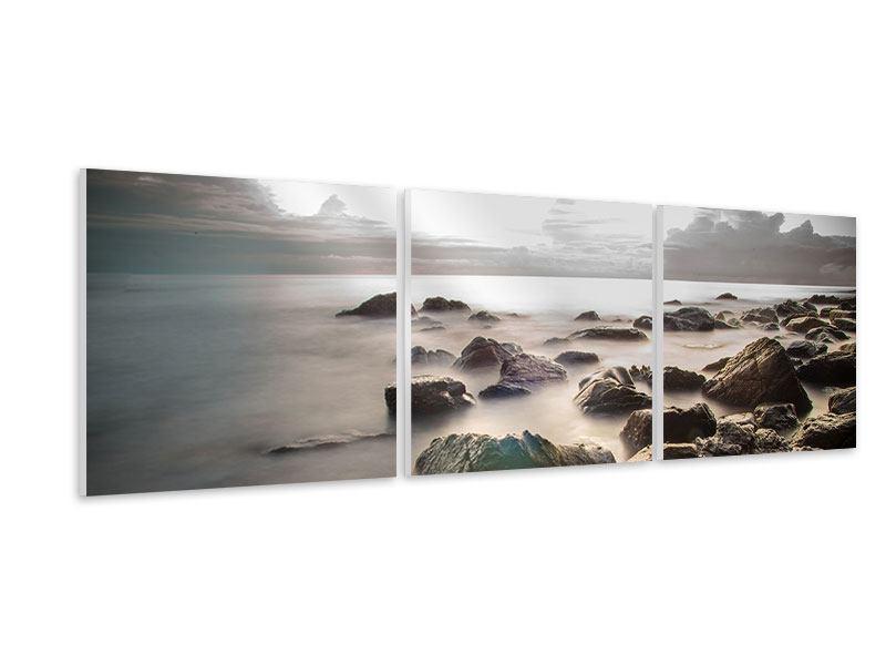 Panorama Hartschaumbild 3-teilig Steine am Strand