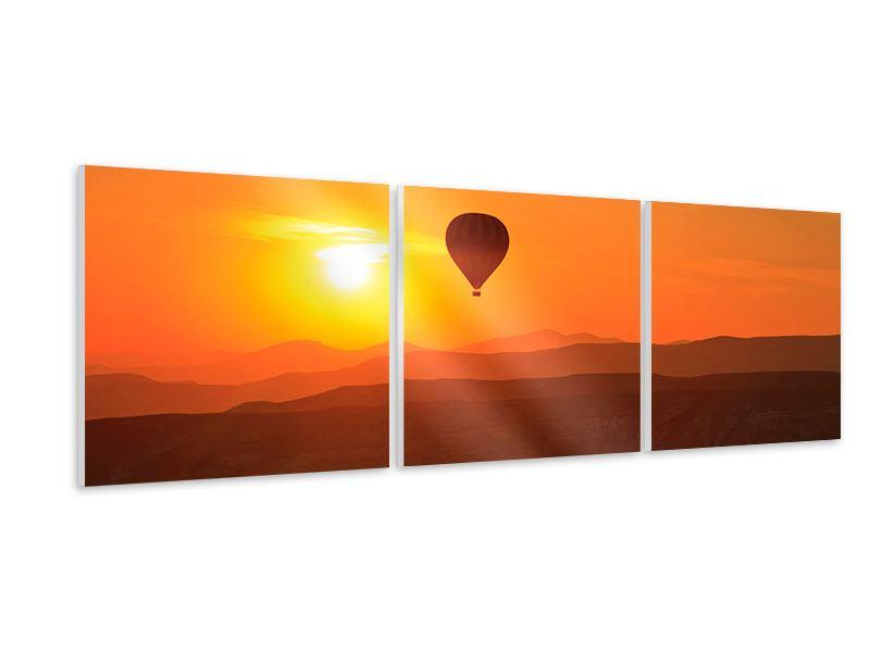 Panorama Hartschaumbild 3-teilig Heissluftballon bei Sonnenuntergang