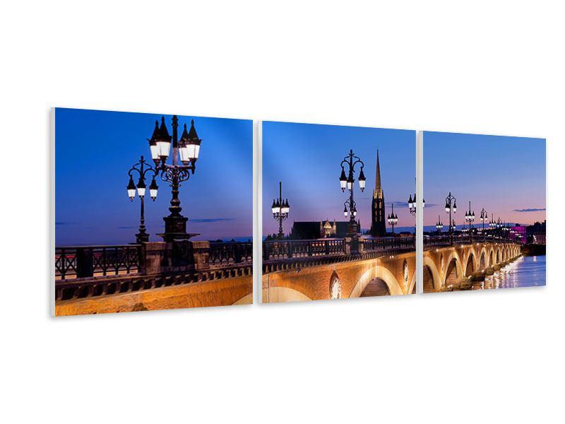 Panorama Hartschaumbild 3-teilig Pont De Pierre bei Sonnenuntergang