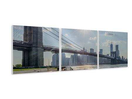 Panorama Hartschaumbild 3-teilig Brooklyn Bridge