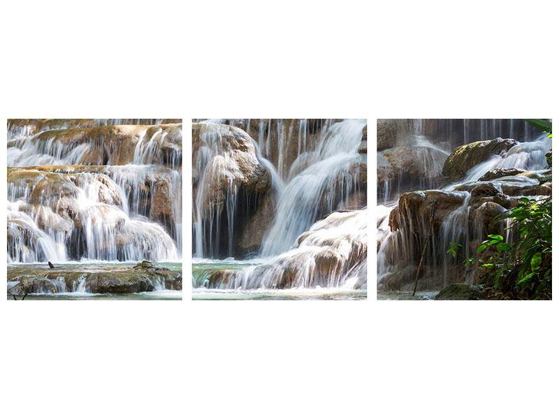 Panorama Hartschaumbild 3-teilig Mexikanischer Wasserfall