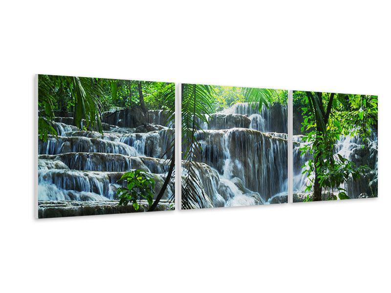 Panorama Hartschaumbild 3-teilig Wasserfall Agua Azul