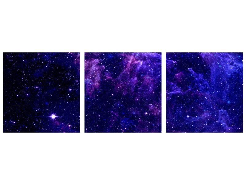 Panorama Hartschaumbild 3-teilig Ein Himmel voll Sterne