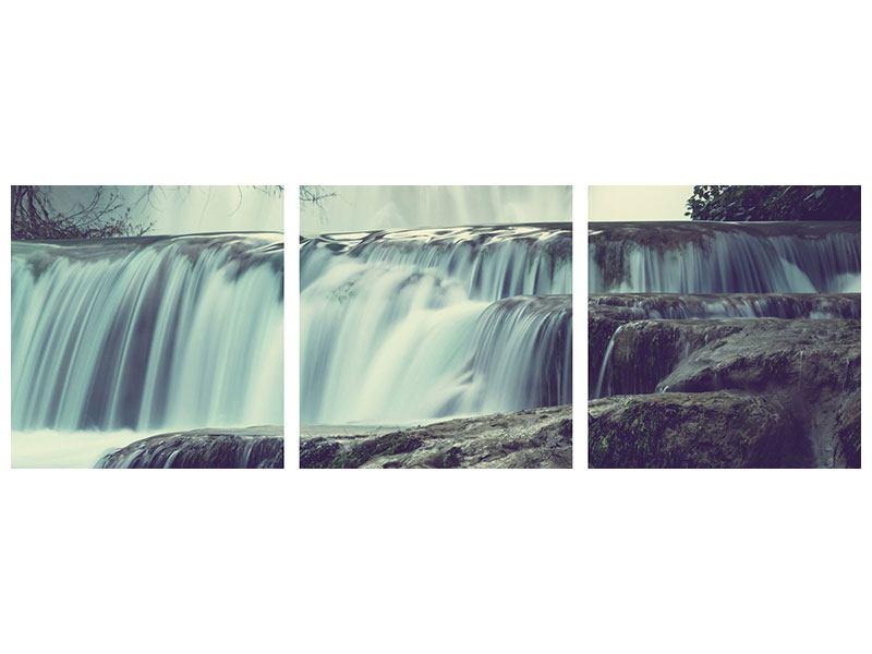 Panorama Hartschaumbild 3-teilig Wasserfall Mexiko