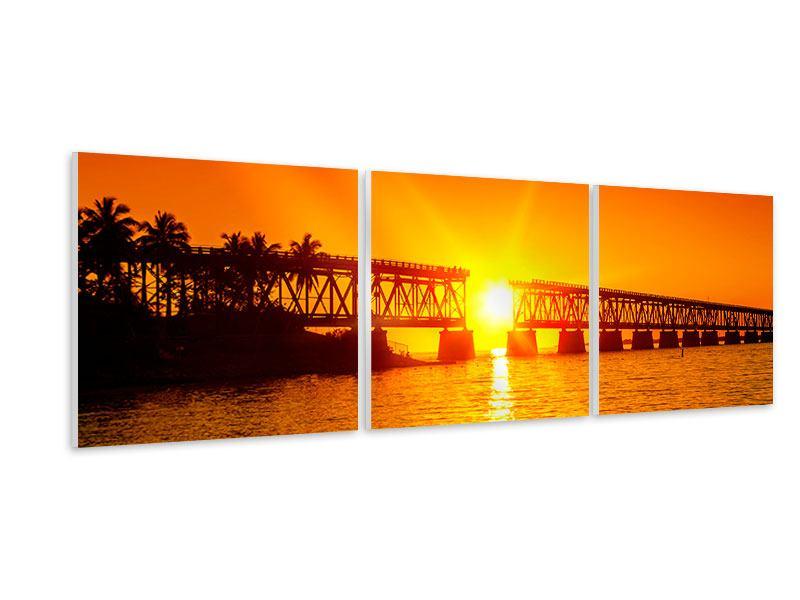 Panorama Hartschaumbild 3-teilig Sonnenuntergang an der Brücke