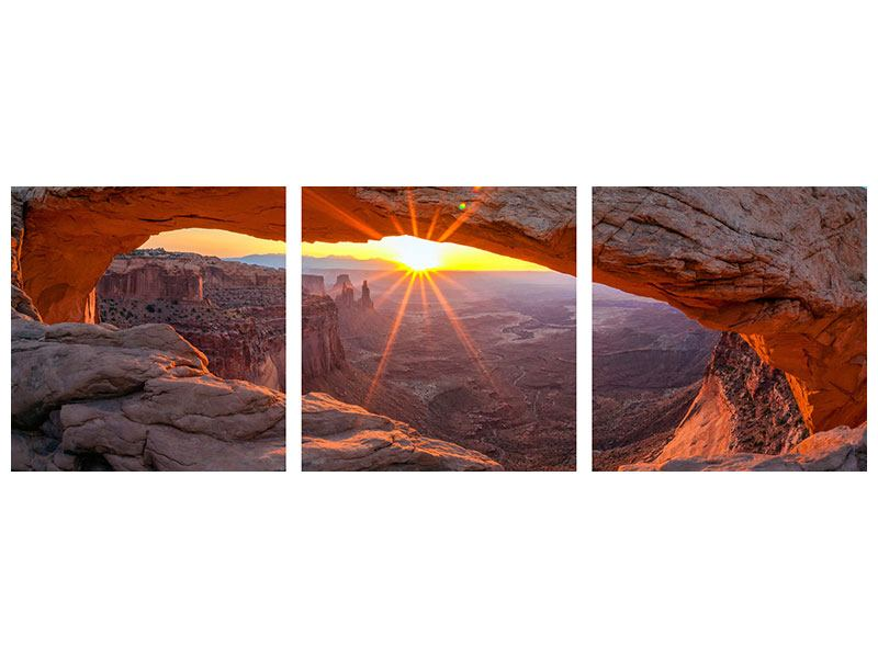 Panorama Hartschaumbild 3-teilig Sonnenuntergang am Mesa Arch