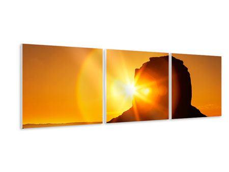 Panorama Hartschaumbild 3-teilig Sonnenuntergang Monument Valley
