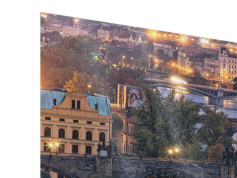 Panorama Hartschaumbild 3-teilig Brücken in Prag