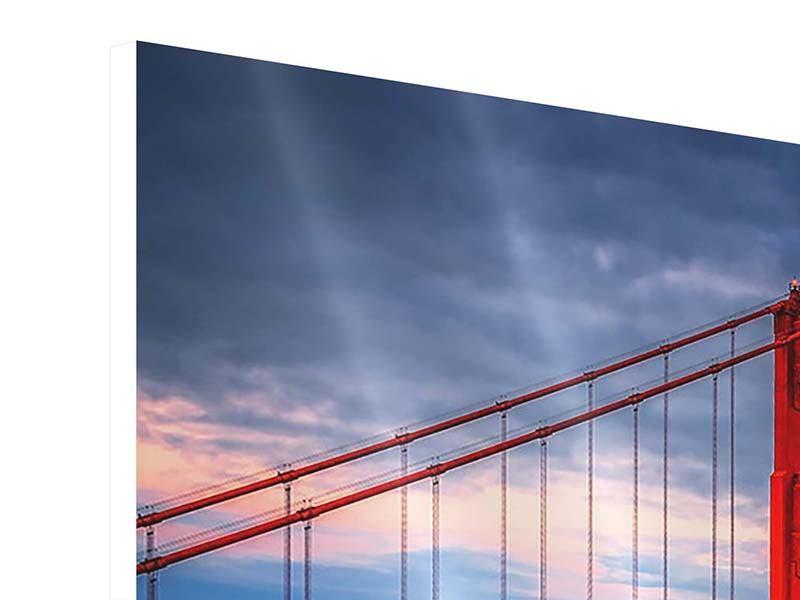 Panorama Hartschaumbild 3-teilig Der Golden Gate Bridge bei Sonnenuntergang