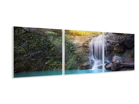 Panorama Hartschaumbild 3-teilig Fliessender Wasserfall