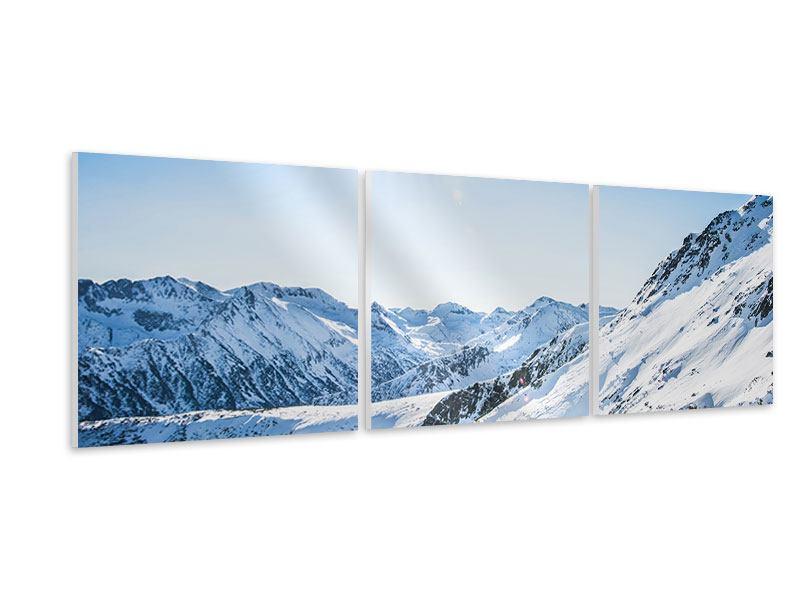 Panorama Hartschaumbild 3-teilig Bergpanorama im Schnee