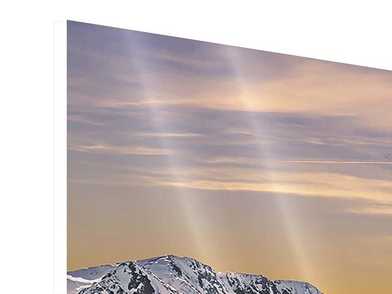 Panorama Hartschaumbild 3-teilig Sonnenuntergang in den Bergen