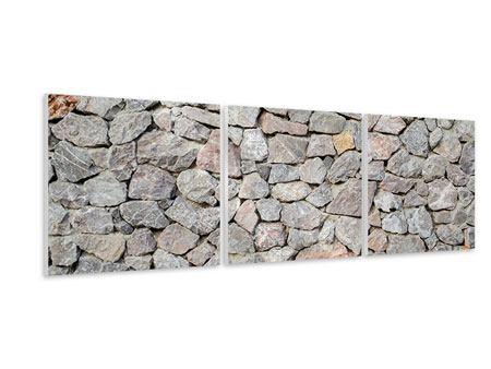 Panorama Hartschaumbild 3-teilig Grunge-Stil Mauer