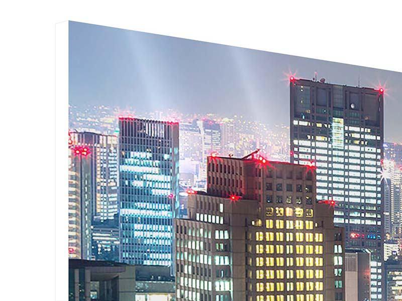 Panorama Hartschaumbild 3-teilig Skyline Osaka im Lichtermeer