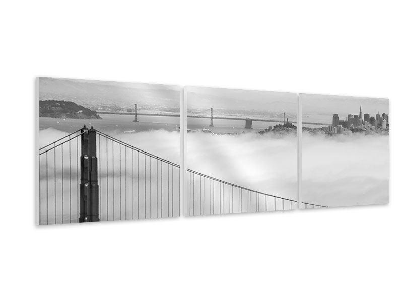 Panorama Hartschaumbild 3-teilig Golden Gate Brücke