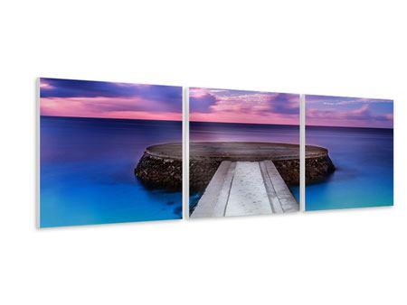 Panorama Hartschaumbild 3-teilig Meditation am Meer