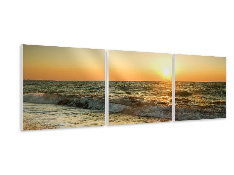 Panorama Hartschaumbild 3-teilig Sonnenuntergang am Meer