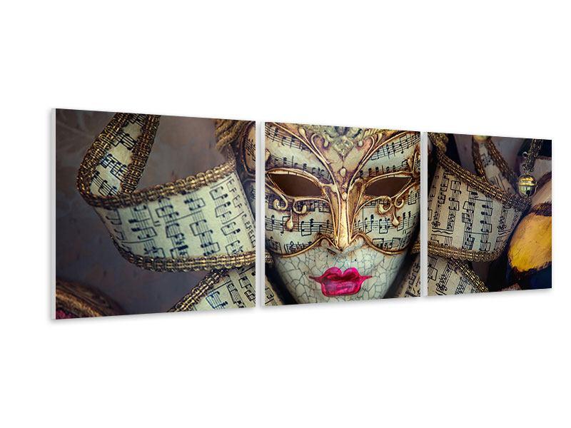 Panorama Hartschaumbild 3-teilig Venezianische Maske