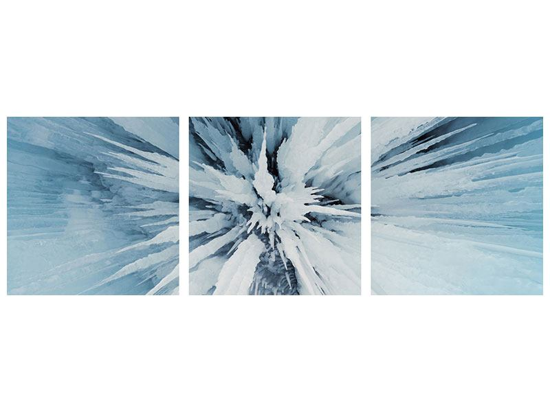 Panorama Hartschaumbild 3-teilig Eiskunst