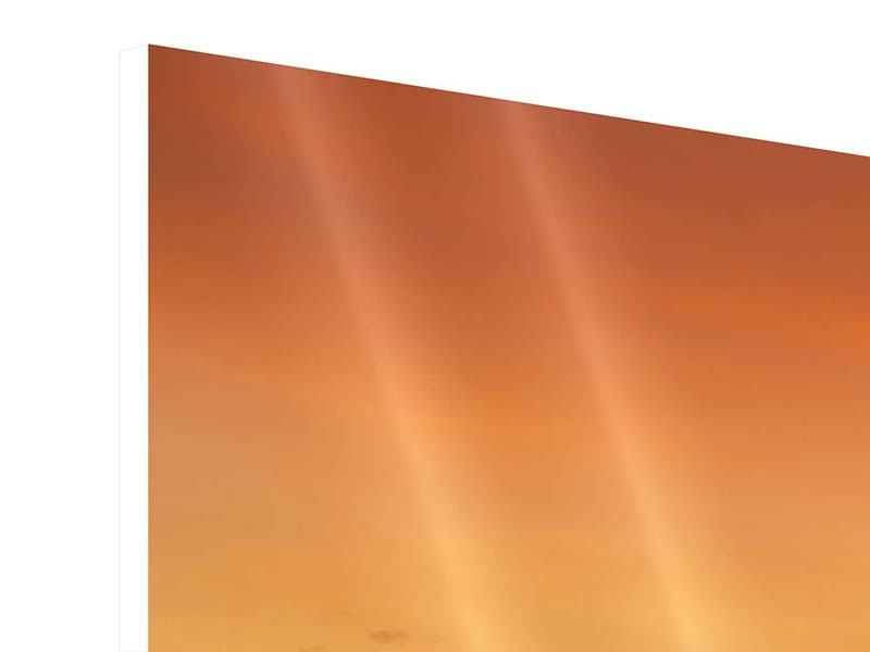Panorama Hartschaumbild 3-teilig See mit Sonnenuntergang