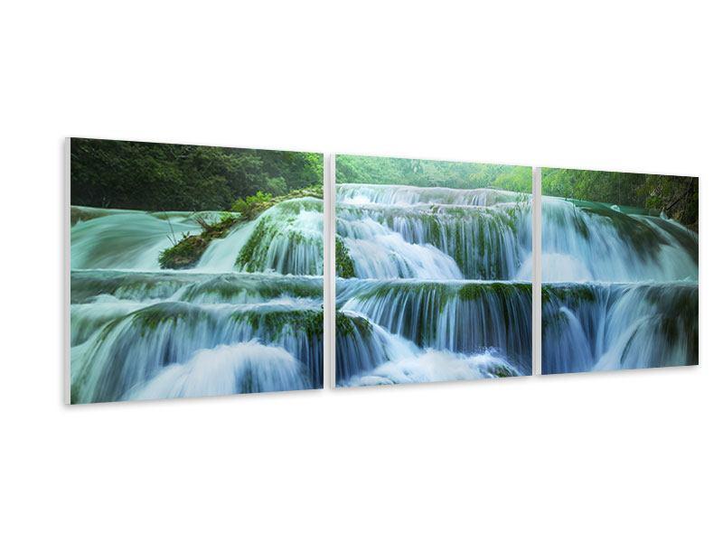 Panorama Hartschaumbild 3-teilig Gigantischer Wasserfall