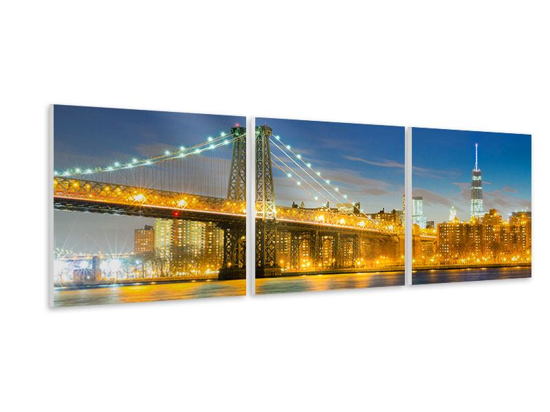Panorama Hartschaumbild 3-teilig Brooklyn Bridge bei Nacht