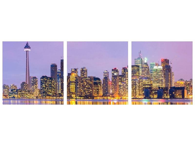 Panorama Hartschaumbild 3-teilig Skyline Toronto bei Nacht