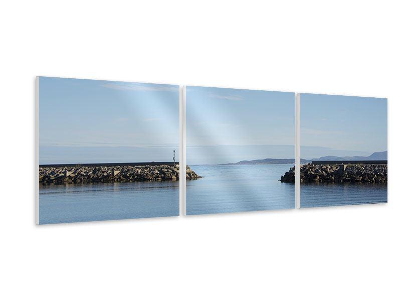 Panorama Hartschaumbild 3-teilig Hafenmauern