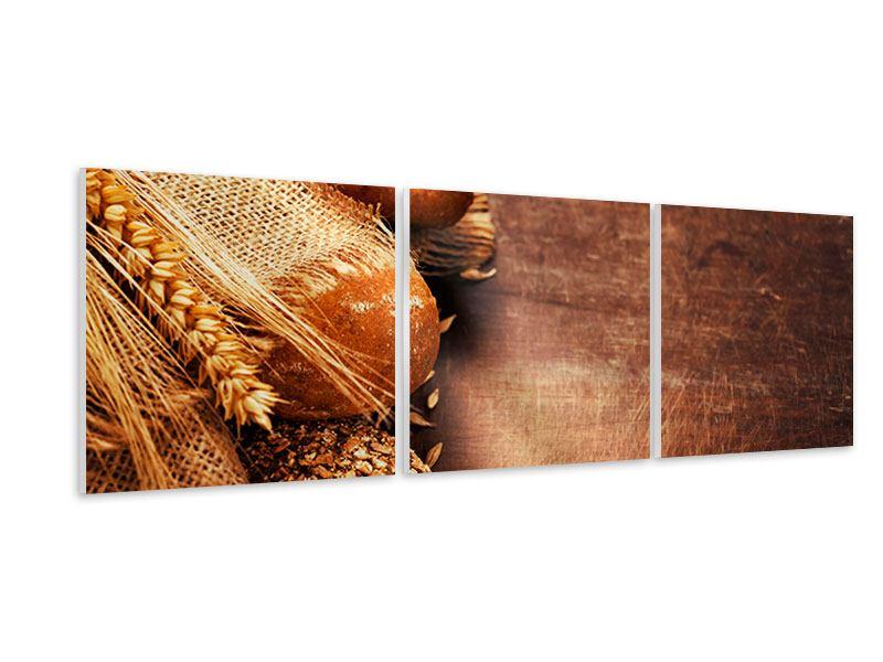 Panorama Hartschaumbild 3-teilig Frische Brote