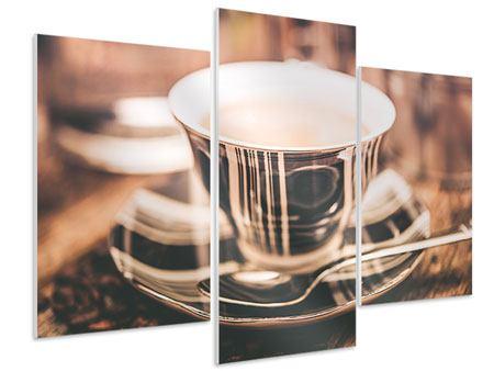 Hartschaumbild 3-teilig modern Der Kaffee ist fertig