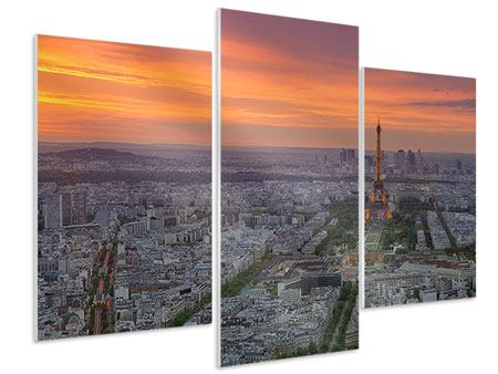Hartschaumbild 3-teilig modern Skyline Paris bei Sonnenuntergang
