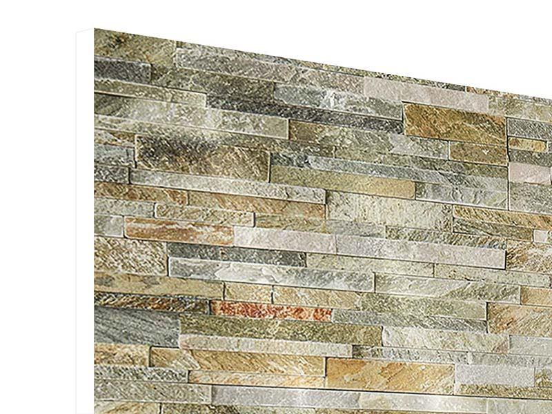 Hartschaumbild 3-teilig modern Edle Steinmauer