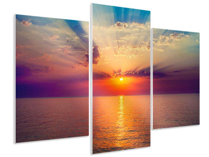 Hartschaumbild 3-teilig modern Mystischer Sonnenaufgang