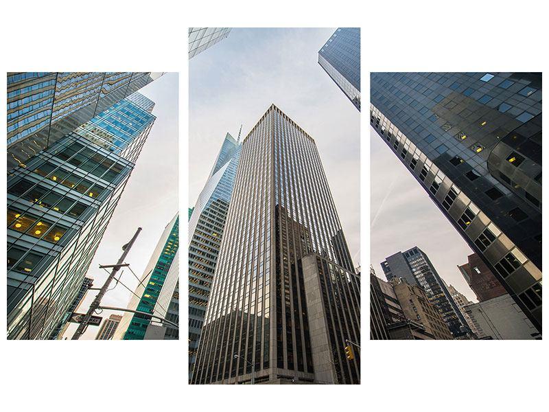 Hartschaumbild 3-teilig modern Hochhäuser