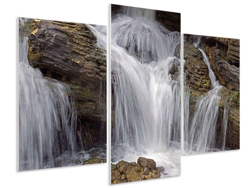 Hartschaumbild 3-teilig modern Wasserfall XXL