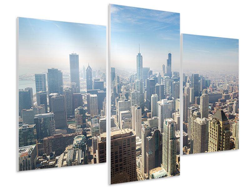 Hartschaumbild 3-teilig modern Wolkenkratzer Chicago