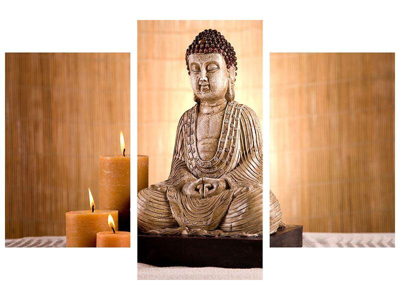 Hartschaumbild 3-teilig modern Buddha in der Meditation