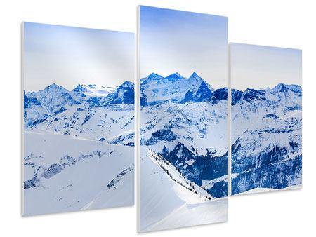 Hartschaumbild 3-teilig modern Die Schweizer Alpen